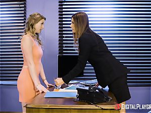 India Summers and Sunny Lane cooch scissoring activity in the office