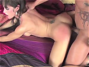 Capri Cavalli pushes this rigid trouser snake down her mouth