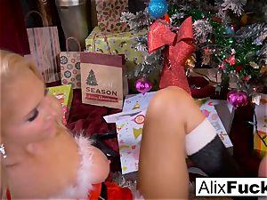 Christmas g/g sex inbetween two super hot girls